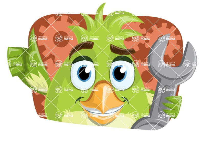 Parrot Cartoon Vector Character AKA Collin Feathers - Shape 2