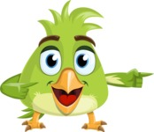 Parrot Cartoon Vector Character AKA Collin Feathers - Point 2