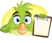 Parrot Cartoon Vector Character AKA Collin Feathers - Shape 3
