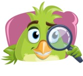 Parrot Cartoon Vector Character AKA Collin Feathers - Shape 4