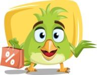 Parrot Cartoon Vector Character AKA Collin Feathers - Shape 5