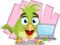 Parrot Cartoon Vector Character AKA Collin Feathers - Shape 7
