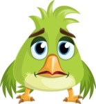 Parrot Cartoon Vector Character AKA Collin Feathers - Sad