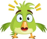 Parrot Cartoon Vector Character AKA Collin Feathers - Shocked
