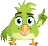 Parrot Cartoon Vector Character AKA Collin Feathers - Attention