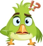 Parrot Cartoon Vector Character AKA Collin Feathers - Confused