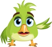 Parrot Cartoon Vector Character AKA Collin Feathers - Goddbye