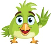 Parrot Cartoon Vector Character AKA Collin Feathers - Hello