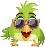 Parrot Cartoon Vector Character AKA Collin Feathers - Sunglasses
