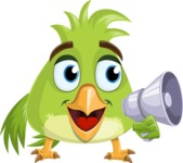 Parrot Cartoon Vector Character AKA Collin Feathers - Loudspeaker
