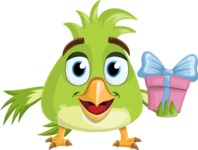 Parrot Cartoon Vector Character AKA Collin Feathers - Gift