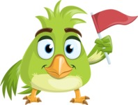 Parrot Cartoon Vector Character AKA Collin Feathers - Flag
