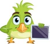 Parrot Cartoon Vector Character AKA Collin Feathers - iPad 2