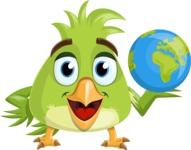 Parrot Cartoon Vector Character AKA Collin Feathers - Earth
