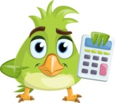 Parrot Cartoon Vector Character AKA Collin Feathers - Calculator