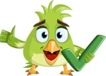 Parrot Cartoon Vector Character AKA Collin Feathers - Check