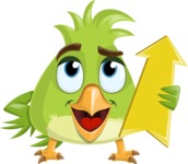 Parrot Cartoon Vector Character AKA Collin Feathers - Pointer 3
