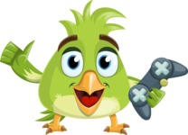 Parrot Cartoon Vector Character AKA Collin Feathers - Joystick