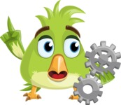 Parrot Cartoon Vector Character AKA Collin Feathers - Gears