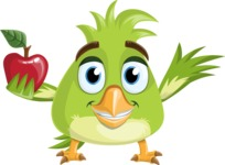 Parrot Cartoon Vector Character AKA Collin Feathers - Apple