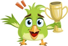 Parrot Cartoon Vector Character AKA Collin Feathers - Trophy