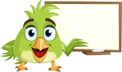 Parrot Cartoon Vector Character AKA Collin Feathers - Sign 5