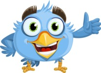 Fluffy Bird Cartoon Vector Character AKA RoBird Plumage - Thumbs Up