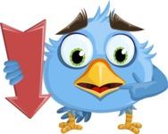Fluffy Bird Cartoon Vector Character AKA RoBird Plumage - Pointer 2
