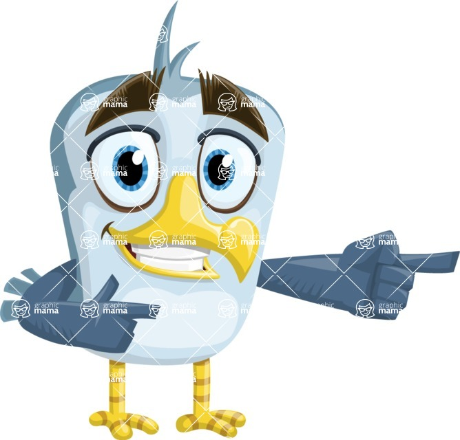 Seabird Cartoon Vector Character AKA Gulliver SeaBird - Point 2