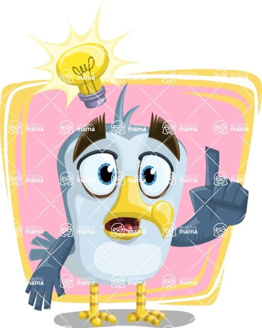 Seabird Cartoon Vector Character AKA Gulliver SeaBird - Shape 6