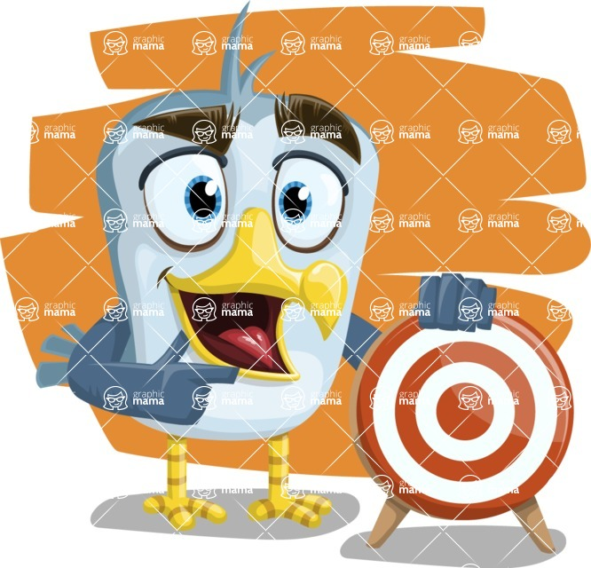 Seabird Cartoon Vector Character AKA Gulliver SeaBird - Shape 7