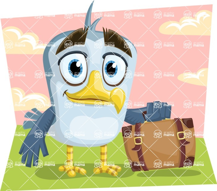 Seabird Cartoon Vector Character AKA Gulliver SeaBird - Shape 9