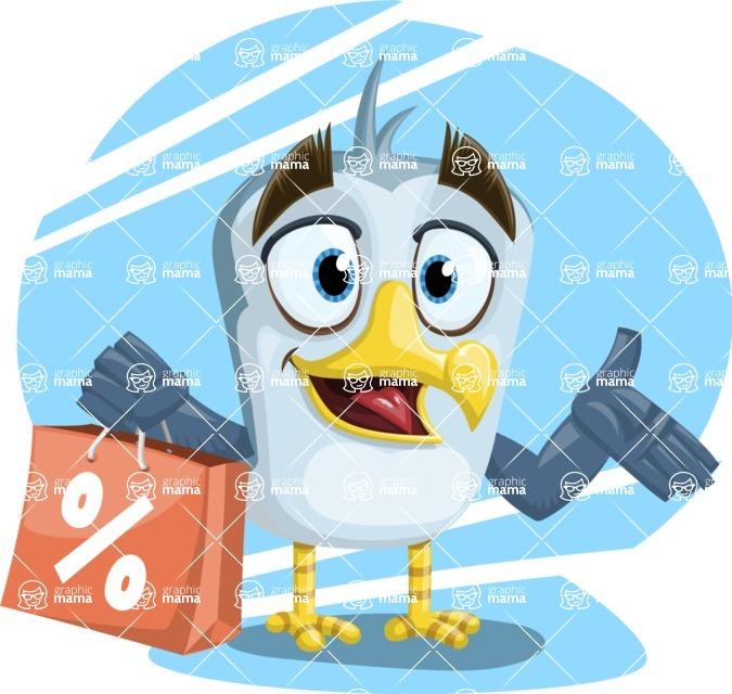 Seabird Cartoon Vector Character AKA Gulliver SeaBird - Shape 10