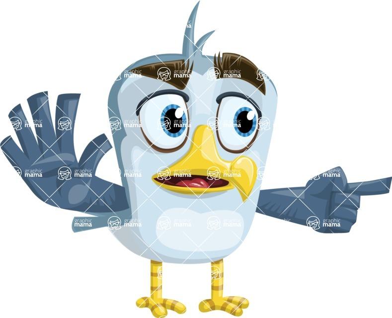 Seabird Cartoon Vector Character AKA Gulliver SeaBird - Direct Attention 2