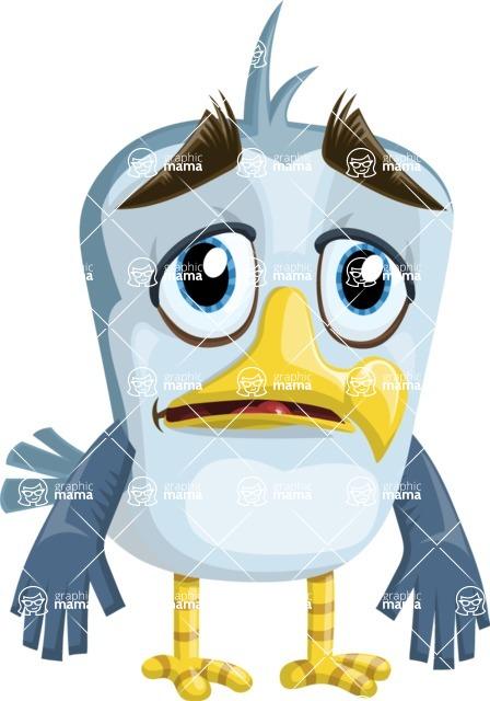 Seabird Cartoon Vector Character AKA Gulliver SeaBird - Sad