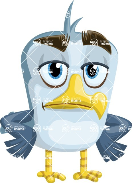 Seabird Cartoon Vector Character AKA Gulliver SeaBird - Bored
