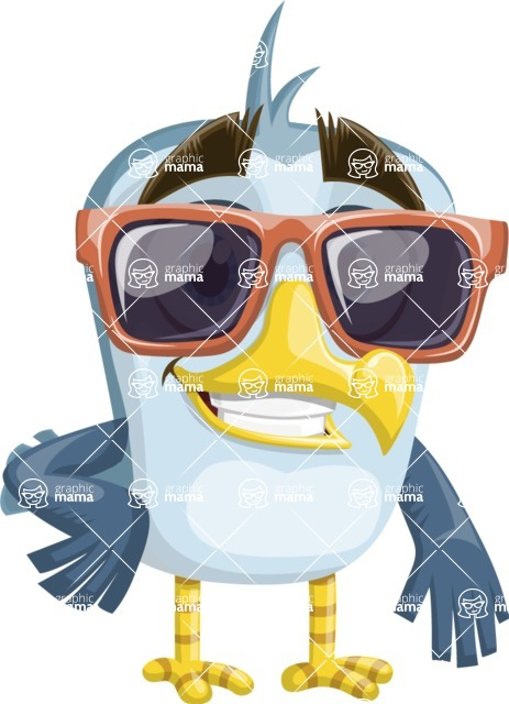 Seabird Cartoon Vector Character AKA Gulliver SeaBird - Sunglasses