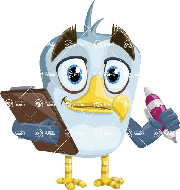 Seabird Cartoon Vector Character AKA Gulliver SeaBird - Note 1