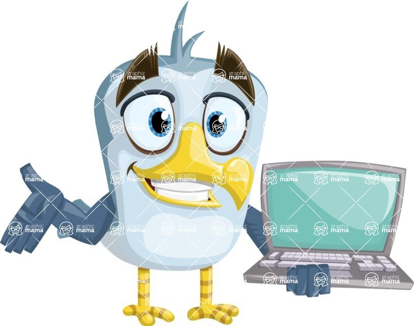 Seabird Cartoon Vector Character AKA Gulliver SeaBird - Laptop 1