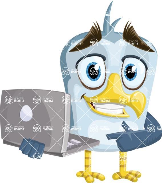 Seabird Cartoon Vector Character AKA Gulliver SeaBird - Laptop 2