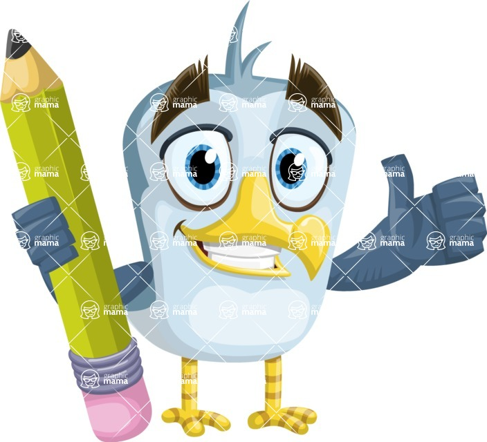 Seabird Cartoon Vector Character AKA Gulliver SeaBird - Pencil