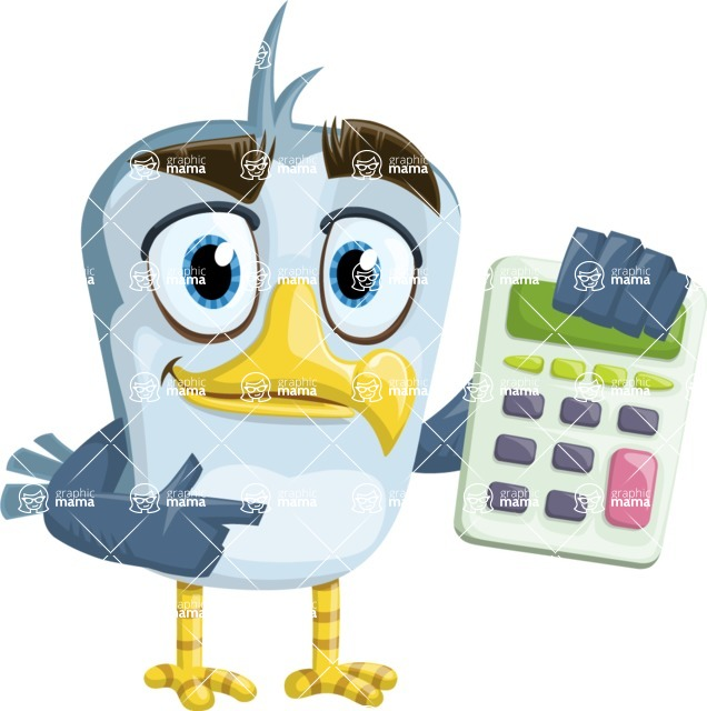 Seabird Cartoon Vector Character AKA Gulliver SeaBird - Calculator