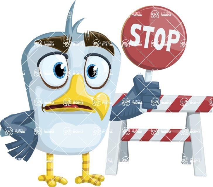 Seabird Cartoon Vector Character AKA Gulliver SeaBird - Construction