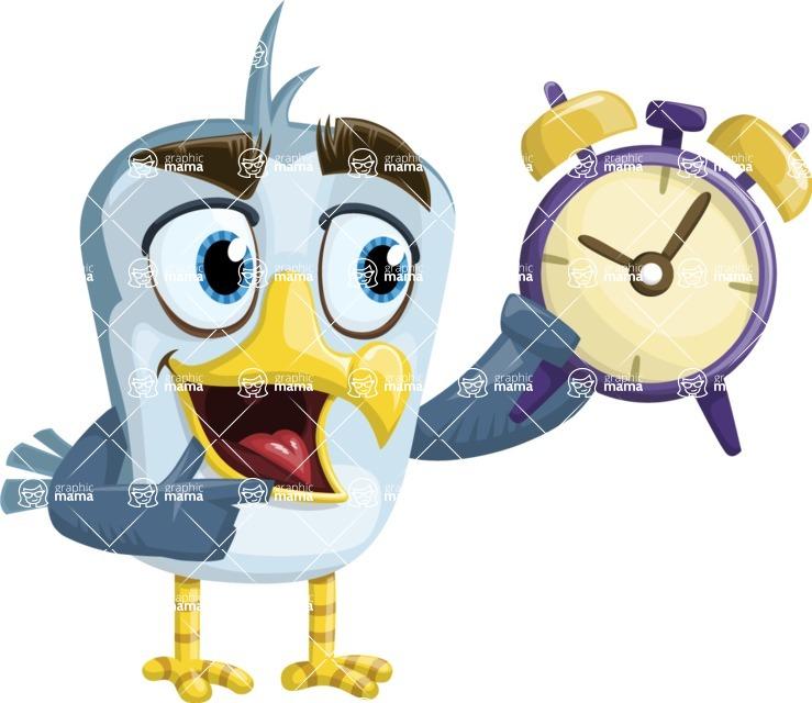 Seabird Cartoon Vector Character AKA Gulliver SeaBird - On Time