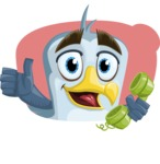 Seabird Cartoon Vector Character AKA Gulliver SeaBird - Shape 4