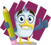 Seabird Cartoon Vector Character AKA Gulliver SeaBird - Shape 8