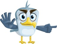 Seabird Cartoon Vector Character AKA Gulliver SeaBird - Direct Attention