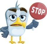 Seabird Cartoon Vector Character AKA Gulliver SeaBird - Stop