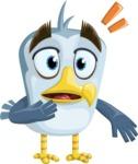 Seabird Cartoon Vector Character AKA Gulliver SeaBird - Stunned