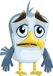 Seabird Cartoon Vector Character AKA Gulliver SeaBird - Sad